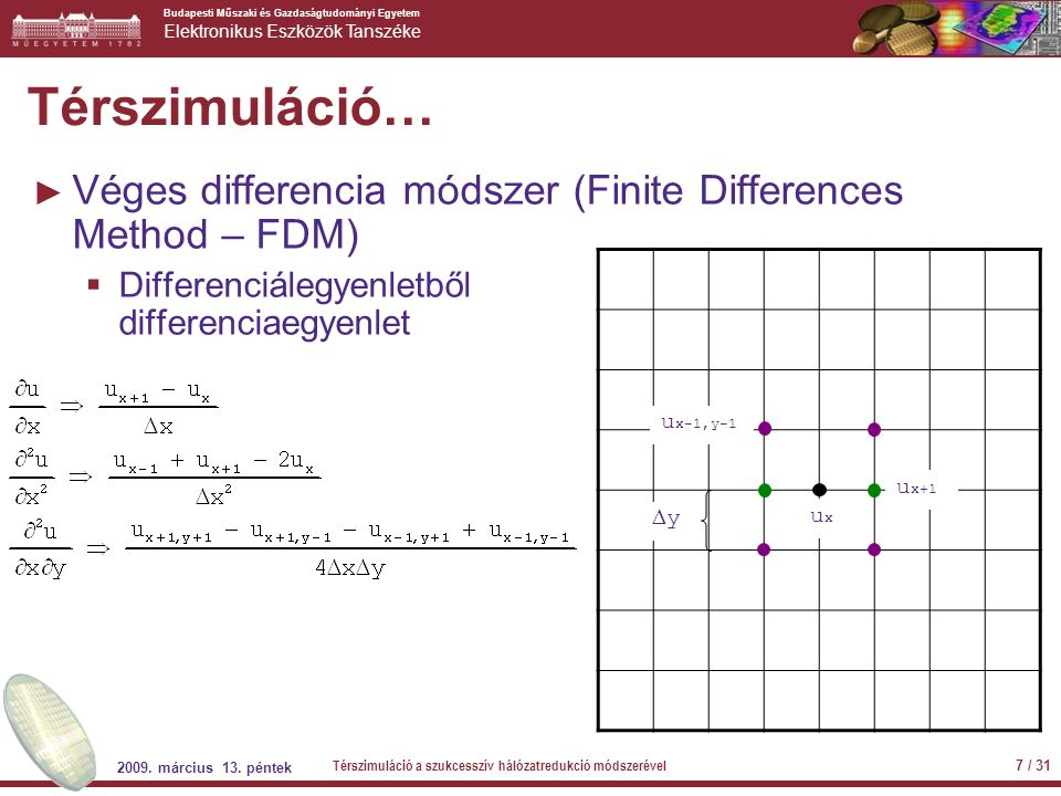 Térszimuláció… Véges differencia módszer (Finite Differences Method – FDM) Differenciálegyenletből differenciaegyenlet.