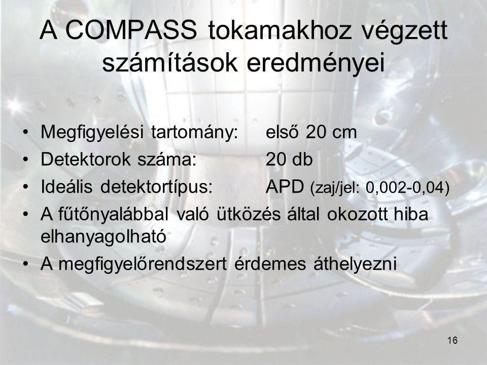 A COMPASS tokamakhoz végzett számítások eredményei