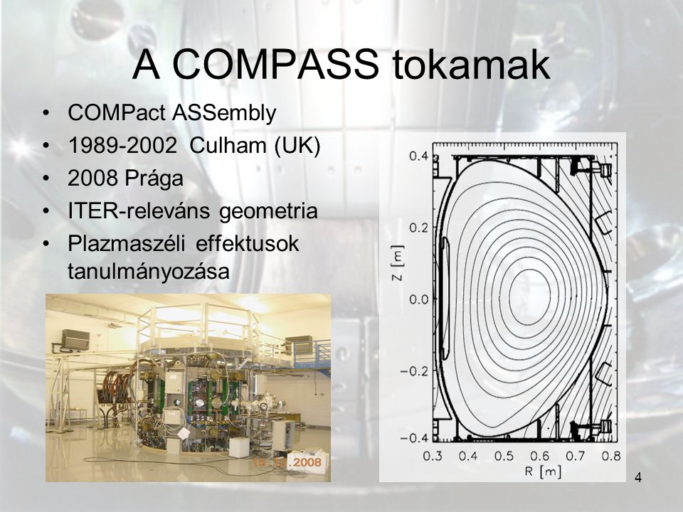 A COMPASS tokamak COMPact ASSembly 1989-2002 Culham (UK) 2008 Prága