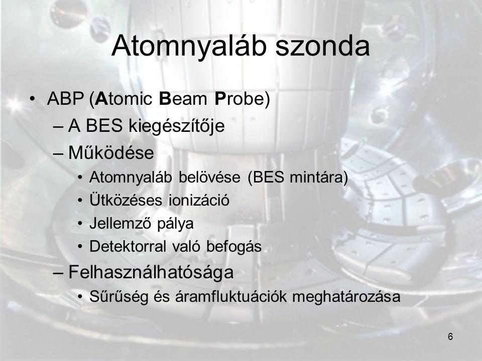 Atomnyaláb szonda ABP (Atomic Beam Probe) A BES kiegészítője Működése