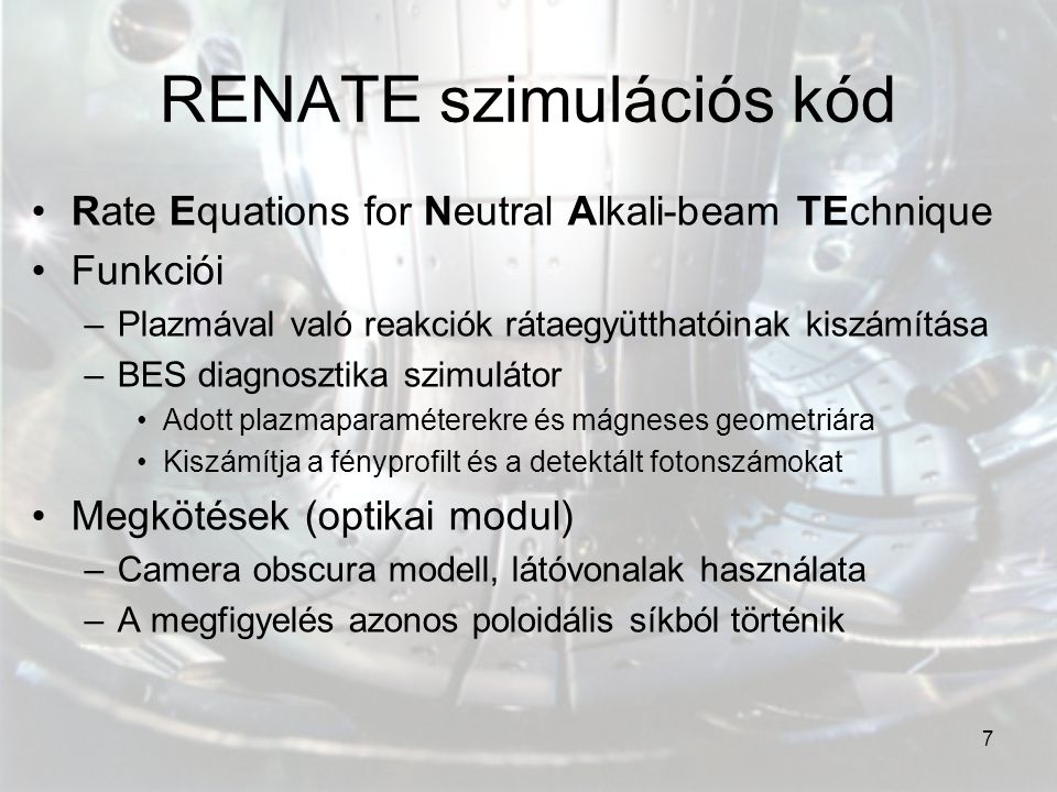 RENATE szimulációs kód
