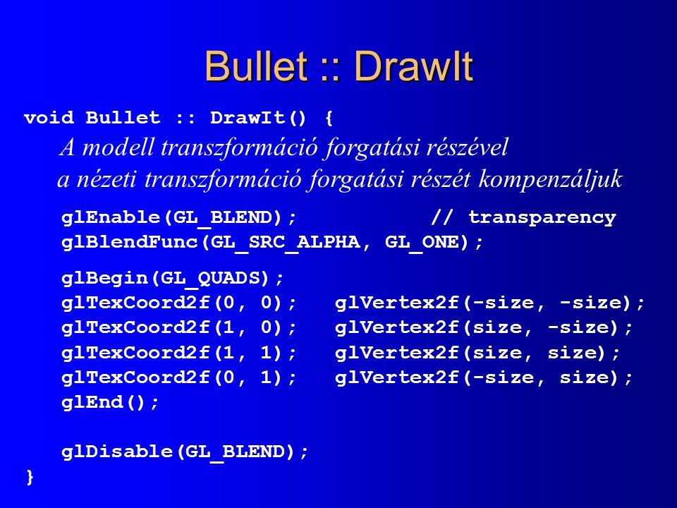 Bullet :: DrawIt a nézeti transzformáció forgatási részét kompenzáljuk
