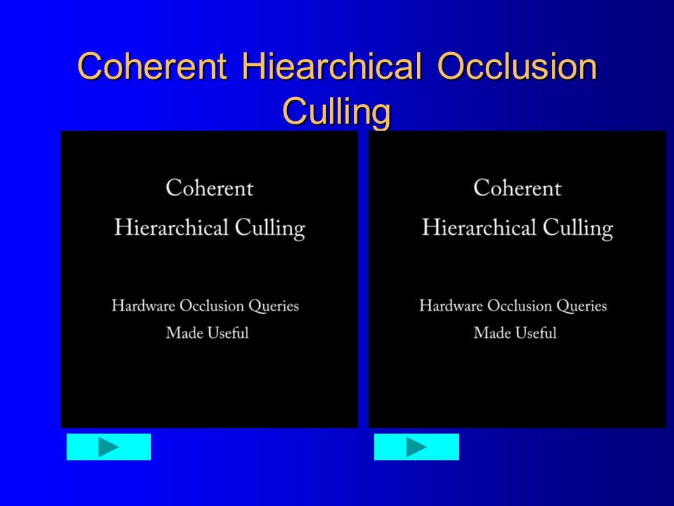 Coherent Hiearchical Occlusion Culling