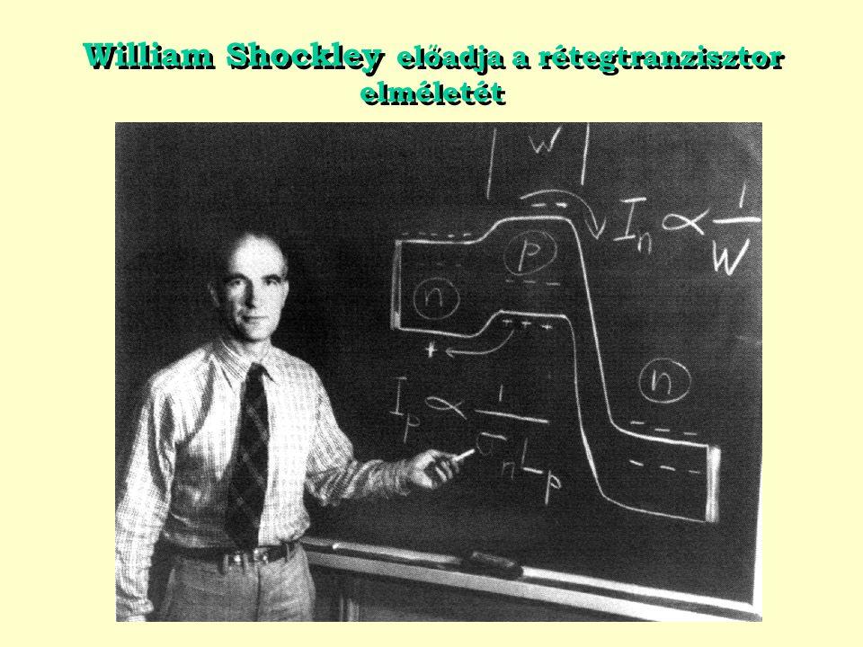 William Shockley előadja a rétegtranzisztor elméletét