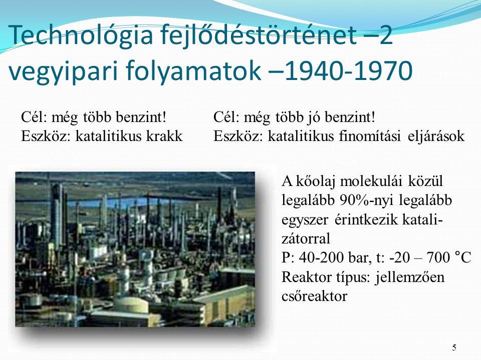Technológia fejlődéstörténet –2 vegyipari folyamatok –1940-1970