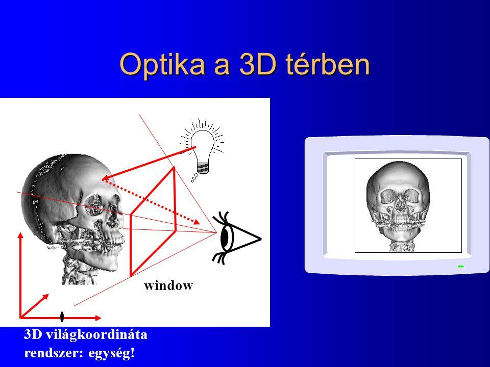 Optika a 3D térben window 3D világkoordináta rendszer: egység!