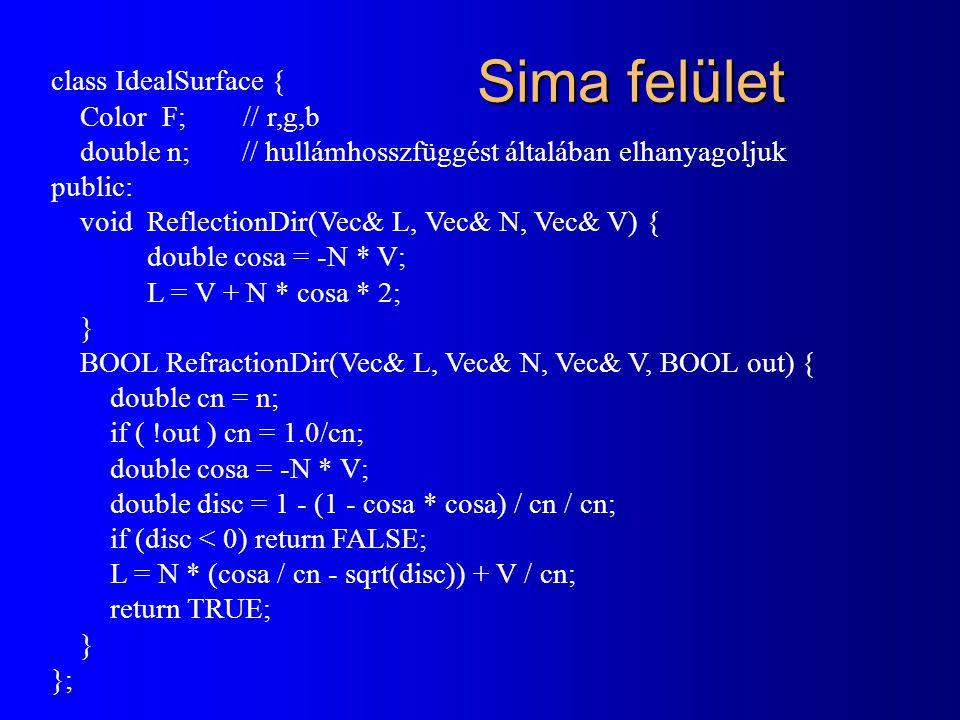 Sima felület class IdealSurface { Color F; // r,g,b