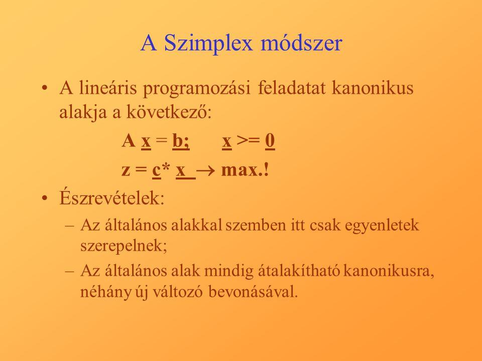A Szimplex módszer A lineáris programozási feladatat kanonikus alakja a következő: A x = b; x >= 0.