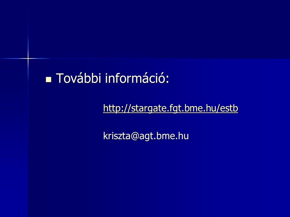 További információ: http://stargate.fgt.bme.hu/estb kriszta@agt.bme.hu