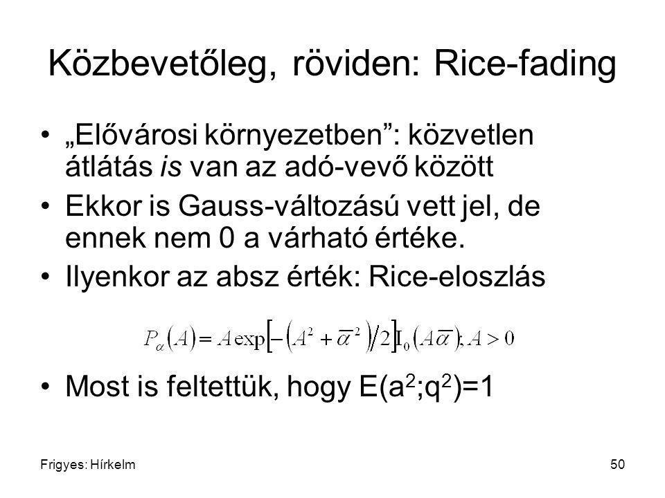 Közbevetőleg, röviden: Rice-fading