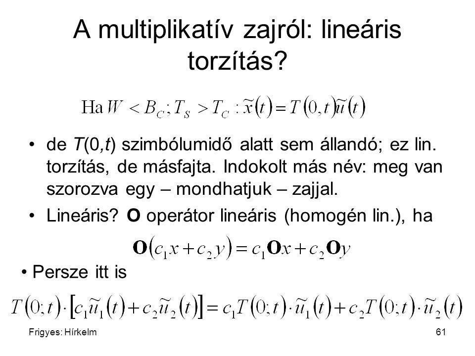 A multiplikatív zajról: lineáris torzítás