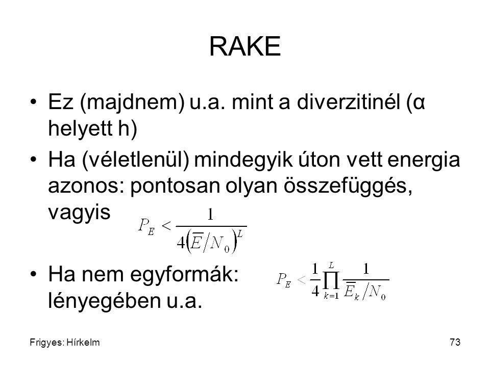 RAKE Ez (majdnem) u.a. mint a diverzitinél (α helyett h)