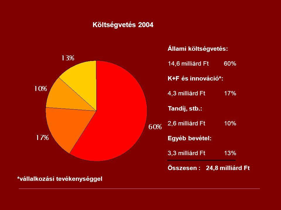 Költségvetés 2004 Állami költségvetés: 14,6 milliárd Ft 60%
