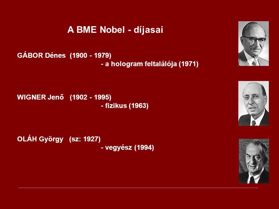 A BME Nobel - díjasai GÁBOR Dénes (1900 - 1979) - a hologram feltalálója (1971) WIGNER Jenő (1902 - 1995)