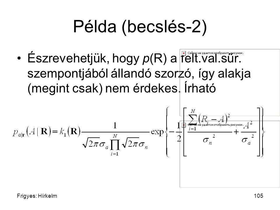 Példa (becslés-2) Észrevehetjük, hogy p(R) a felt.val.sűr. szempontjából állandó szorzó, így alakja (megint csak) nem érdekes. Írható.