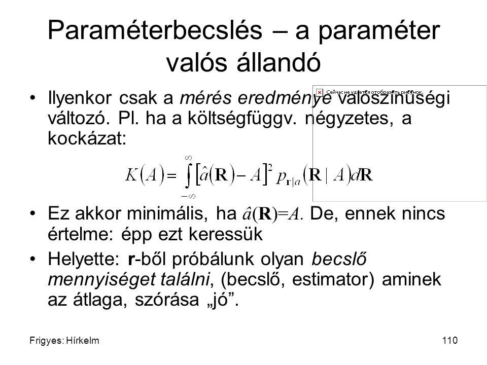 Paraméterbecslés – a paraméter valós állandó