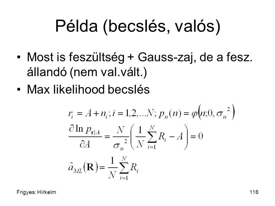 Példa (becslés, valós) Most is feszültség + Gauss-zaj, de a fesz. állandó (nem val.vált.) Max likelihood becslés.
