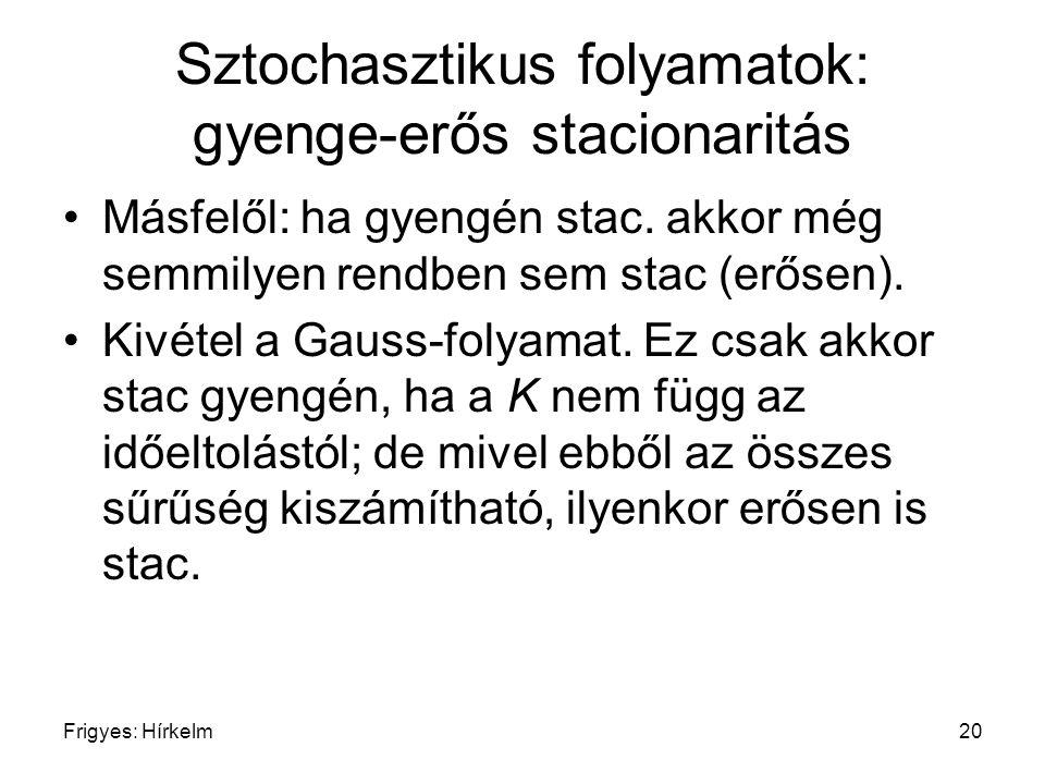 Sztochasztikus folyamatok: gyenge-erős stacionaritás