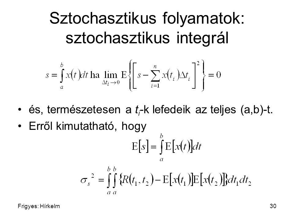 Sztochasztikus folyamatok: sztochasztikus integrál