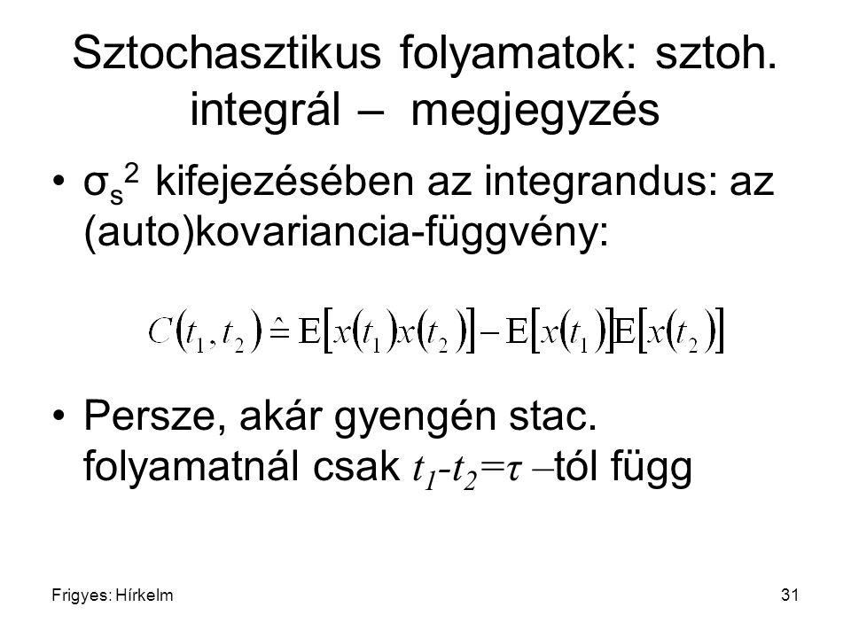 Sztochasztikus folyamatok: sztoh. integrál – megjegyzés