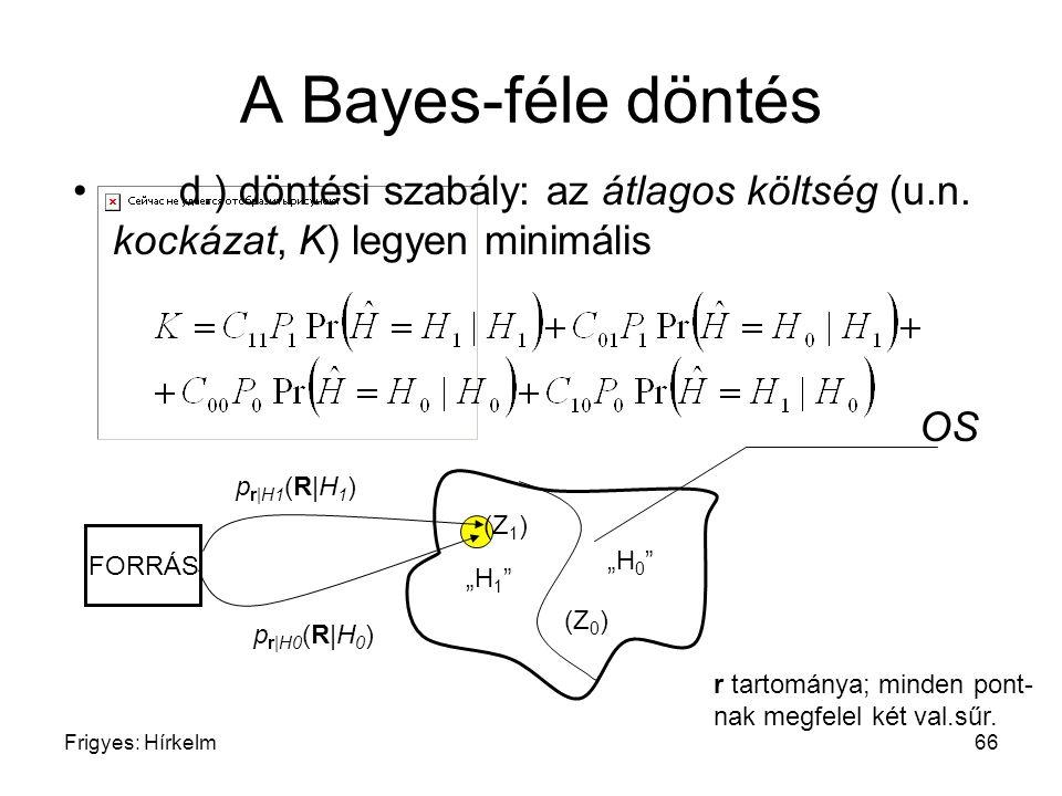 A Bayes-féle döntés d.) döntési szabály: az átlagos költség (u.n. kockázat, K) legyen minimális. OS.