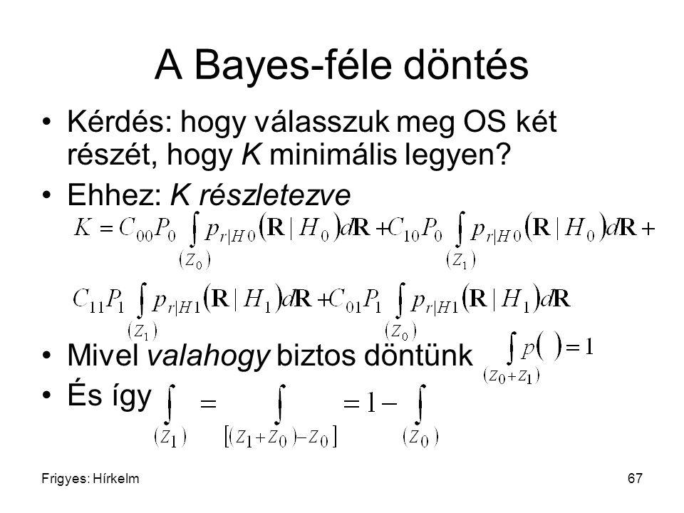 A Bayes-féle döntés Kérdés: hogy válasszuk meg OS két részét, hogy K minimális legyen Ehhez: K részletezve.