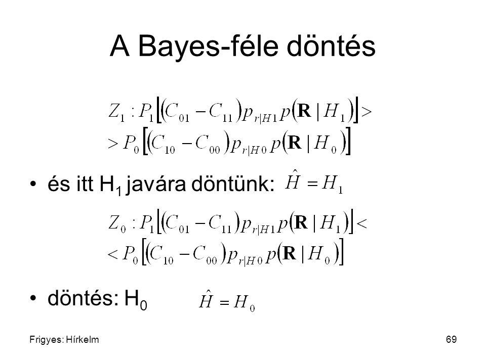 A Bayes-féle döntés és itt H1 javára döntünk: döntés: H0