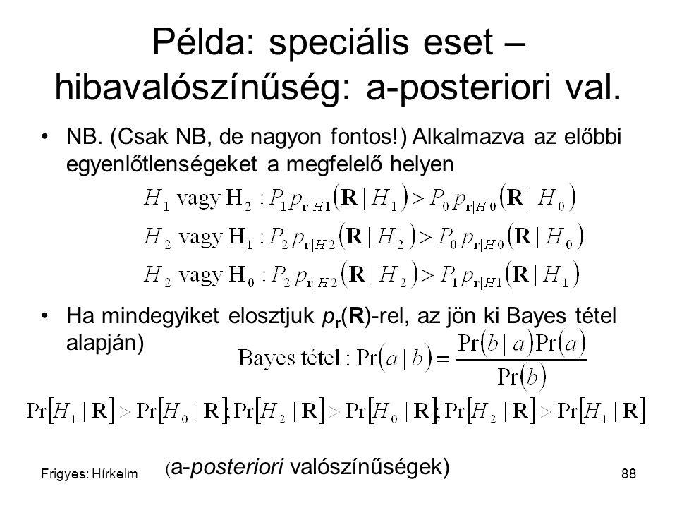 Példa: speciális eset – hibavalószínűség: a-posteriori val.
