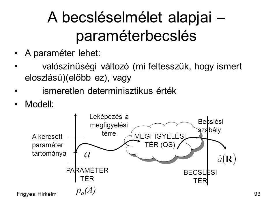 A becsléselmélet alapjai – paraméterbecslés
