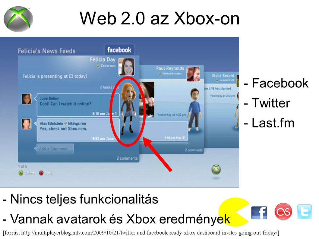 Web 2.0 az Xbox-on - Facebook - Twitter - Last.fm