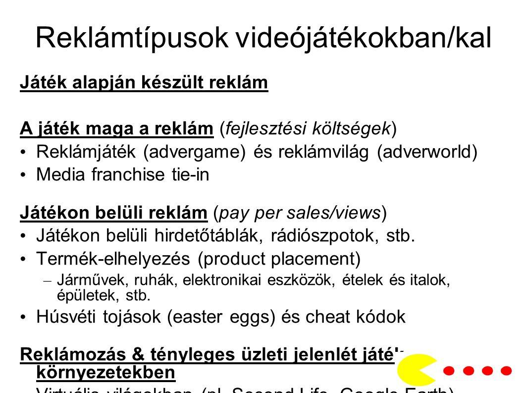 Reklámtípusok videójátékokban/kal