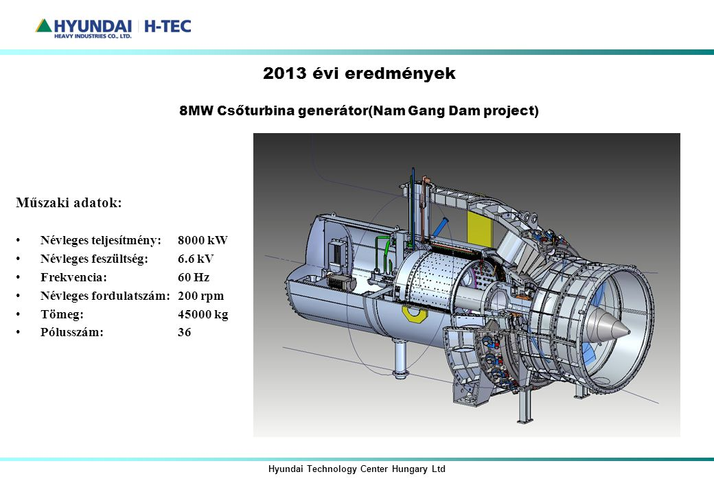 2013 évi eredmények 8MW Csőturbina generátor(Nam Gang Dam project)