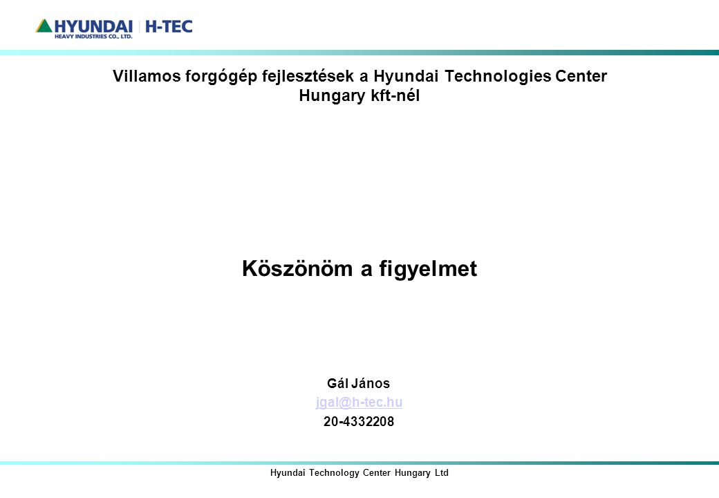 Hyundai Technology Center Hungary Ltd