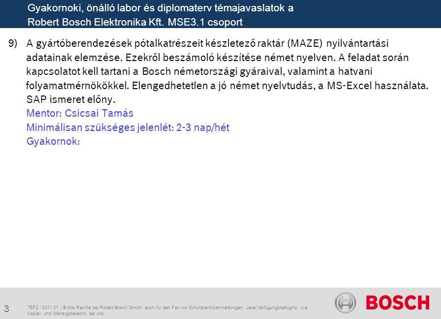 Gyakornoki, önálló labor és diplomaterv témajavaslatok a Robert Bosch Elektronika Kft. MSE3.1 csoport