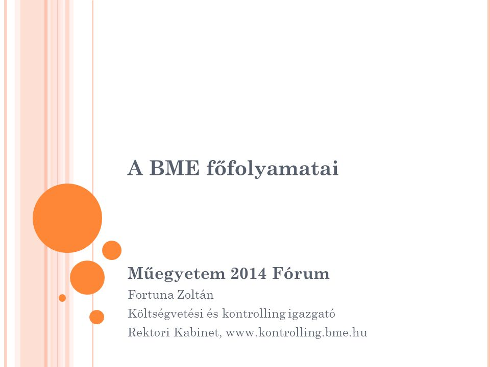 A BME főfolyamatai Műegyetem 2014 Fórum Fortuna Zoltán