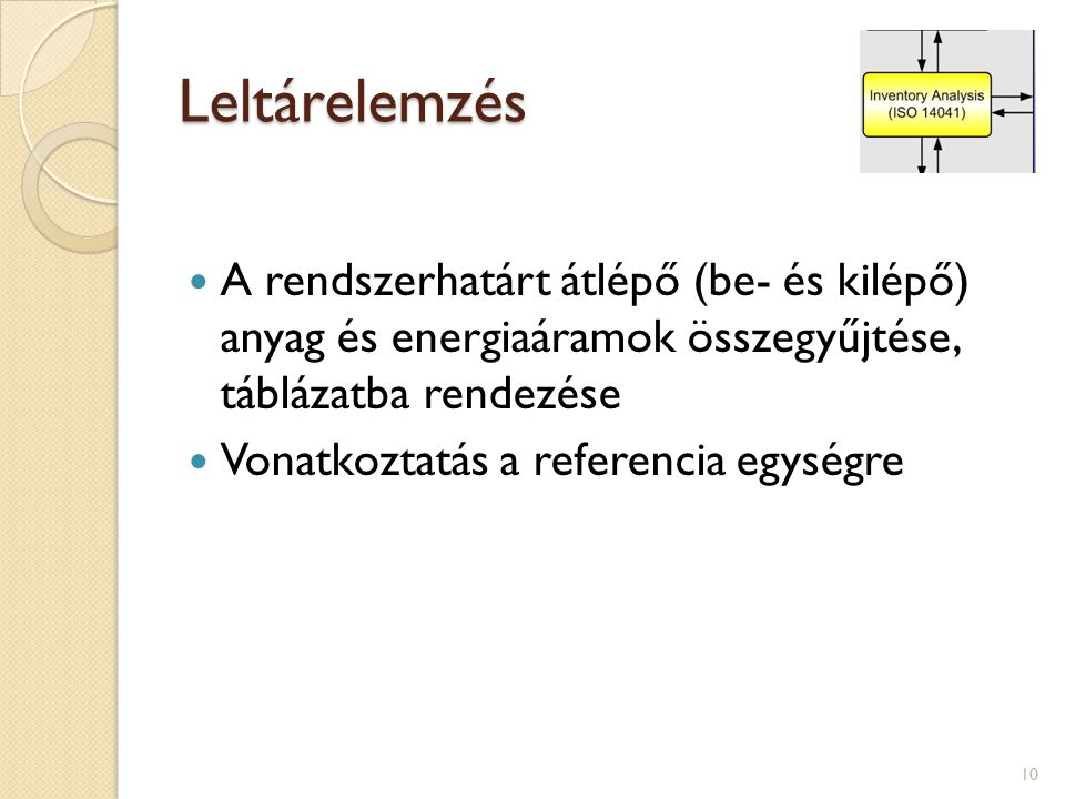 Leltárelemzés A rendszerhatárt átlépő (be- és kilépő) anyag és energiaáramok összegyűjtése, táblázatba rendezése.