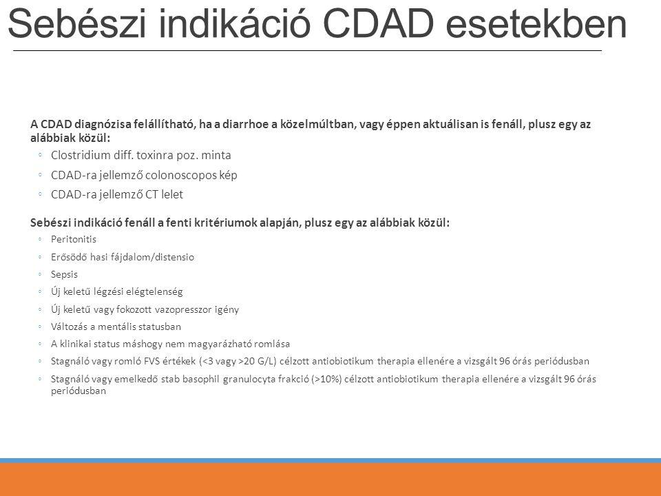 Sebészi indikáció CDAD esetekben