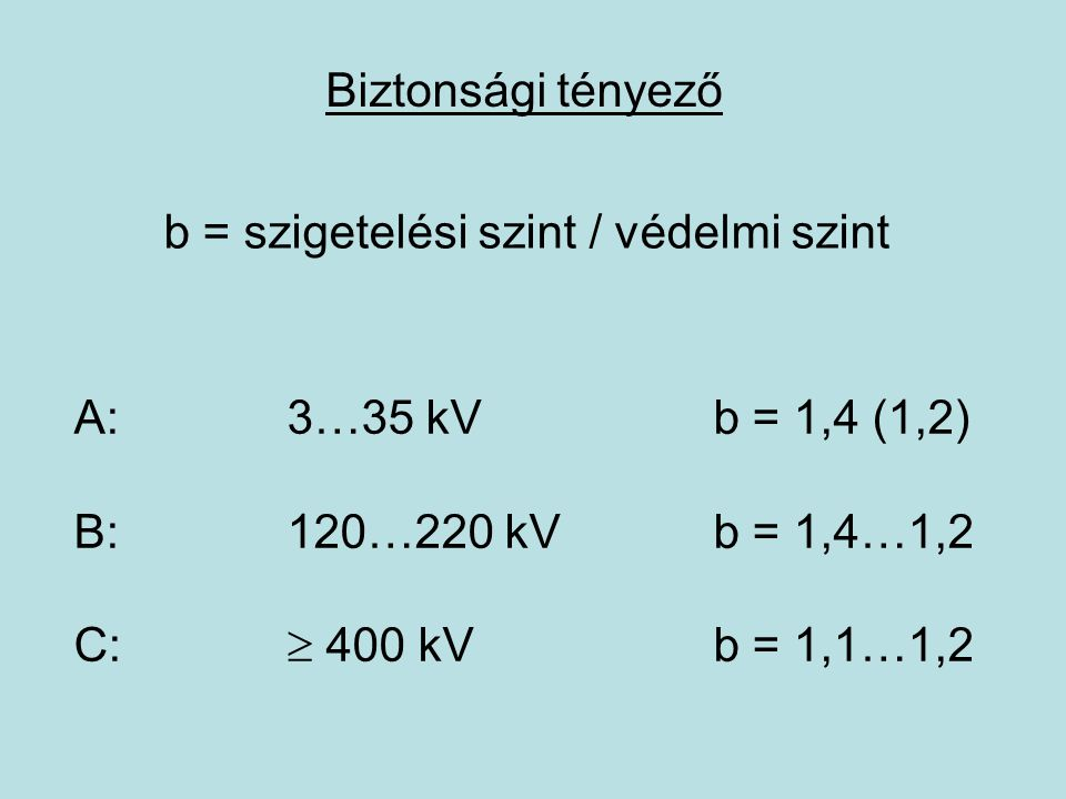 Biztonsági tényező b = szigetelési szint / védelmi szint. A: 3…35 kV b = 1,4 (1,2) B: 120…220 kV b = 1,4…1,2.