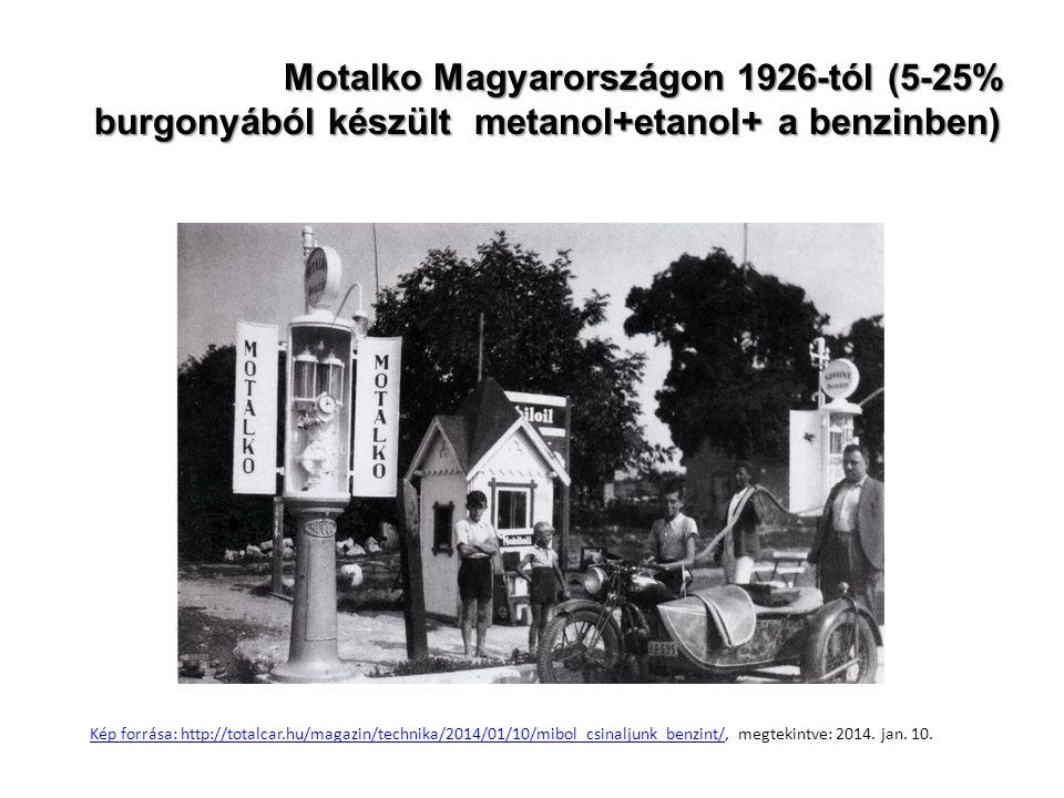 Motalko Magyarországon 1926-tól (5-25% burgonyából készült metanol+etanol+ a benzinben)