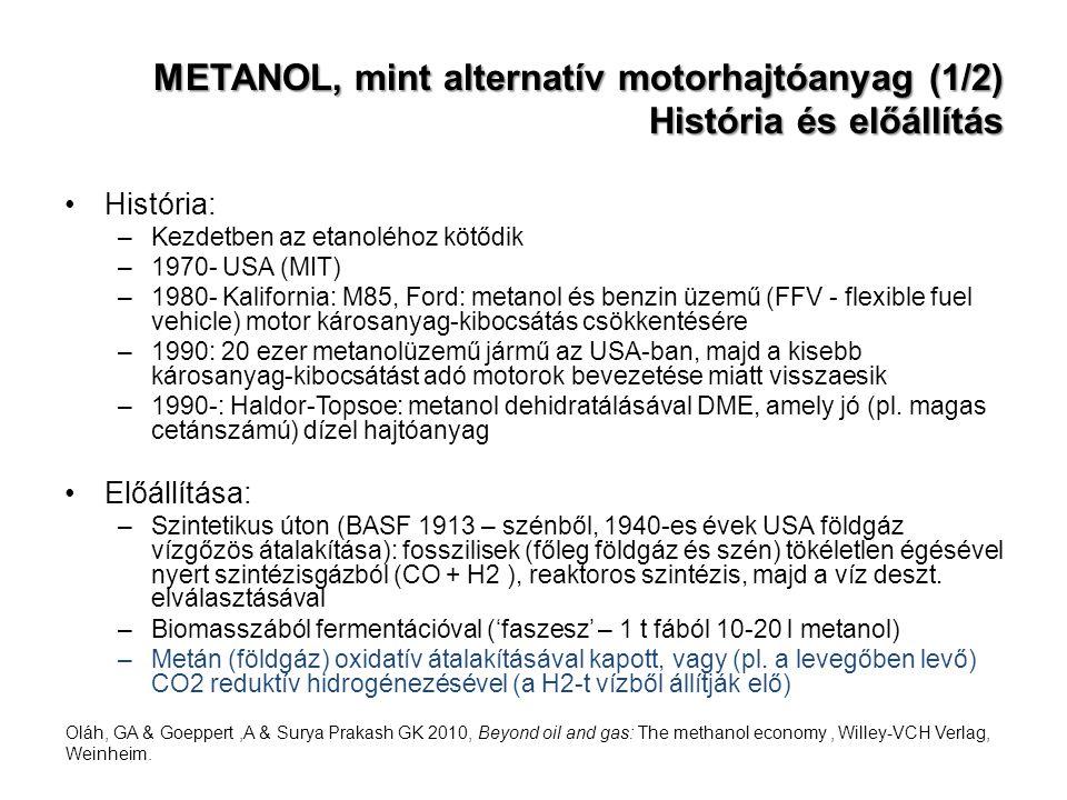 METANOL, mint alternatív motorhajtóanyag (1/2) História és előállítás