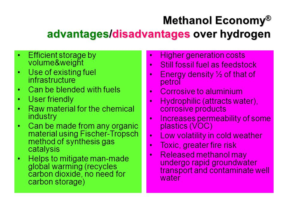 Methanol Economy® advantages/disadvantages over hydrogen