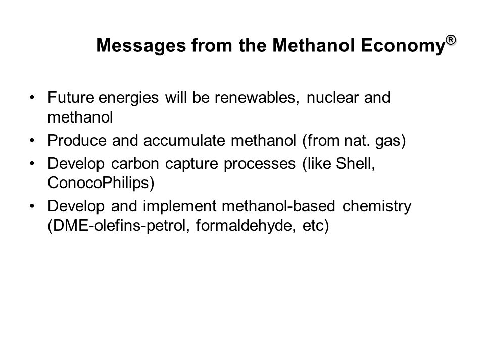 Messages from the Methanol Economy®