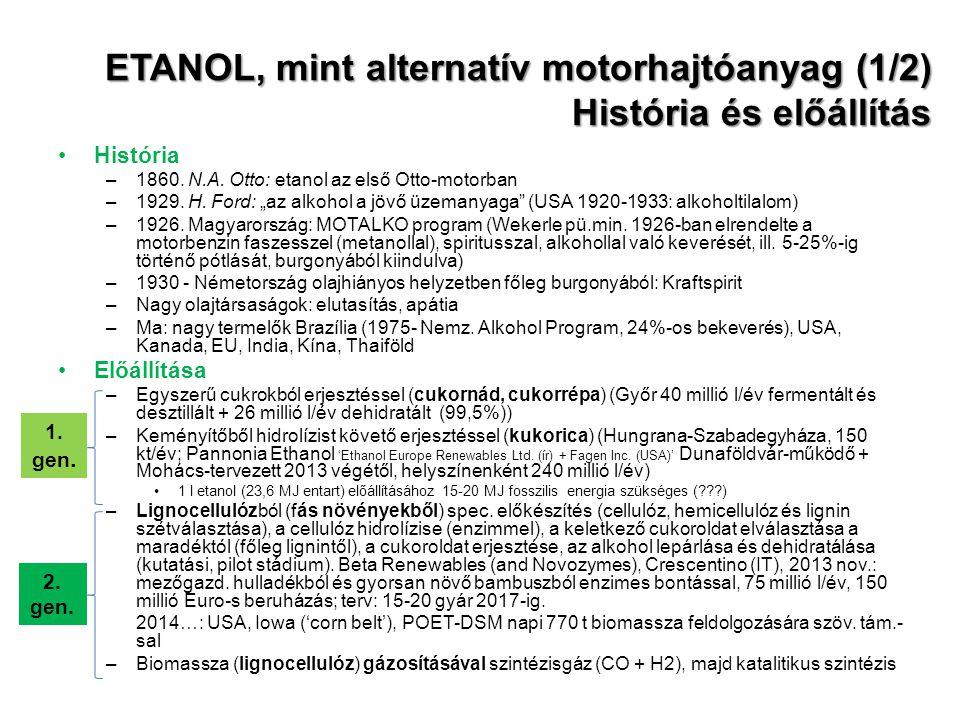 ETANOL, mint alternatív motorhajtóanyag (1/2) História és előállítás