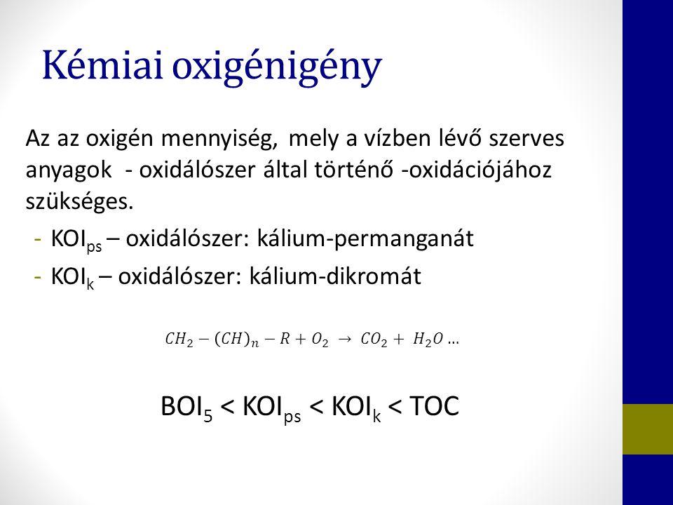 Kémiai oxigénigény Az az oxigén mennyiség, mely a vízben lévő szerves anyagok - oxidálószer által történő -oxidációjához szükséges.
