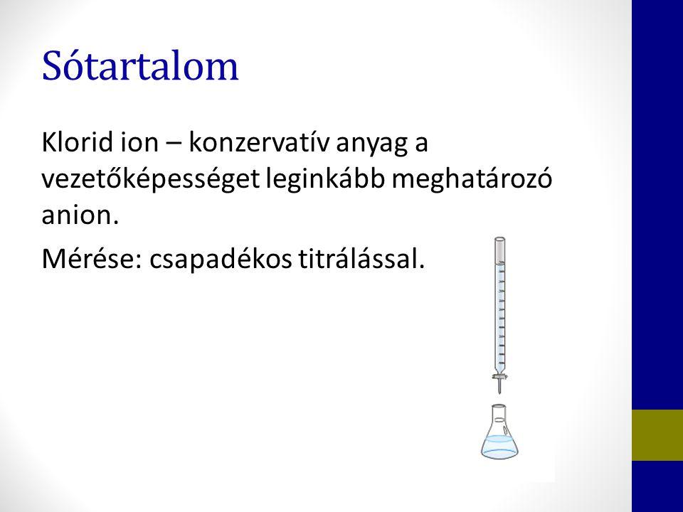 Sótartalom Klorid ion – konzervatív anyag a vezetőképességet leginkább meghatározó anion.