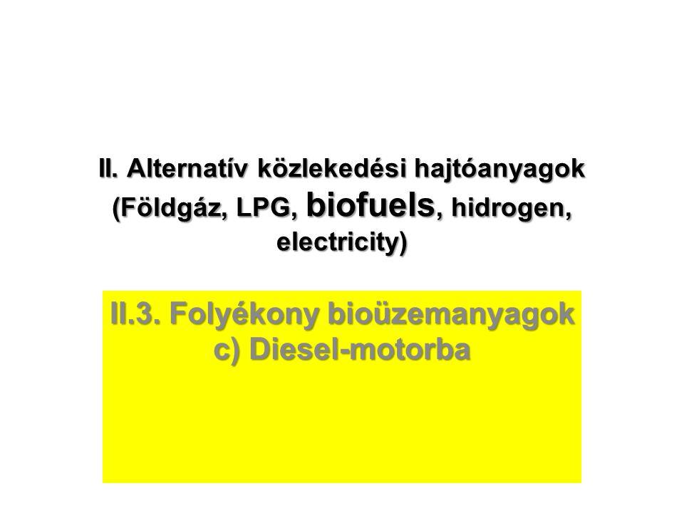 II.3. Folyékony bioüzemanyagok c) Diesel-motorba