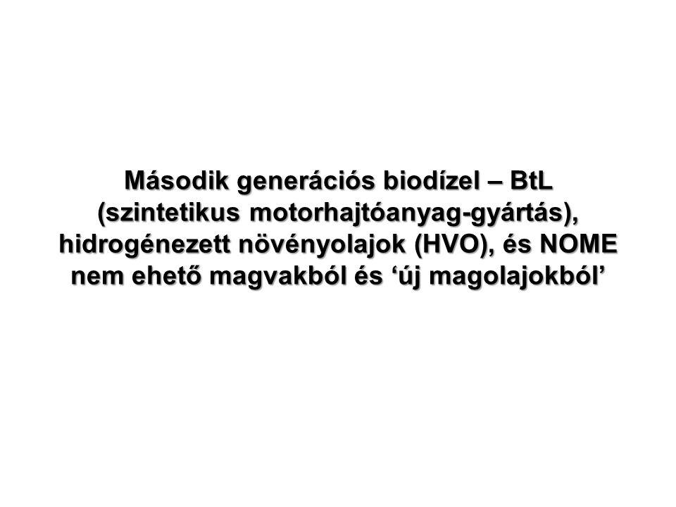 Második generációs biodízel – BtL (szintetikus motorhajtóanyag-gyártás), hidrogénezett növényolajok (HVO), és NOME nem ehető magvakból és 'új magolajokból'
