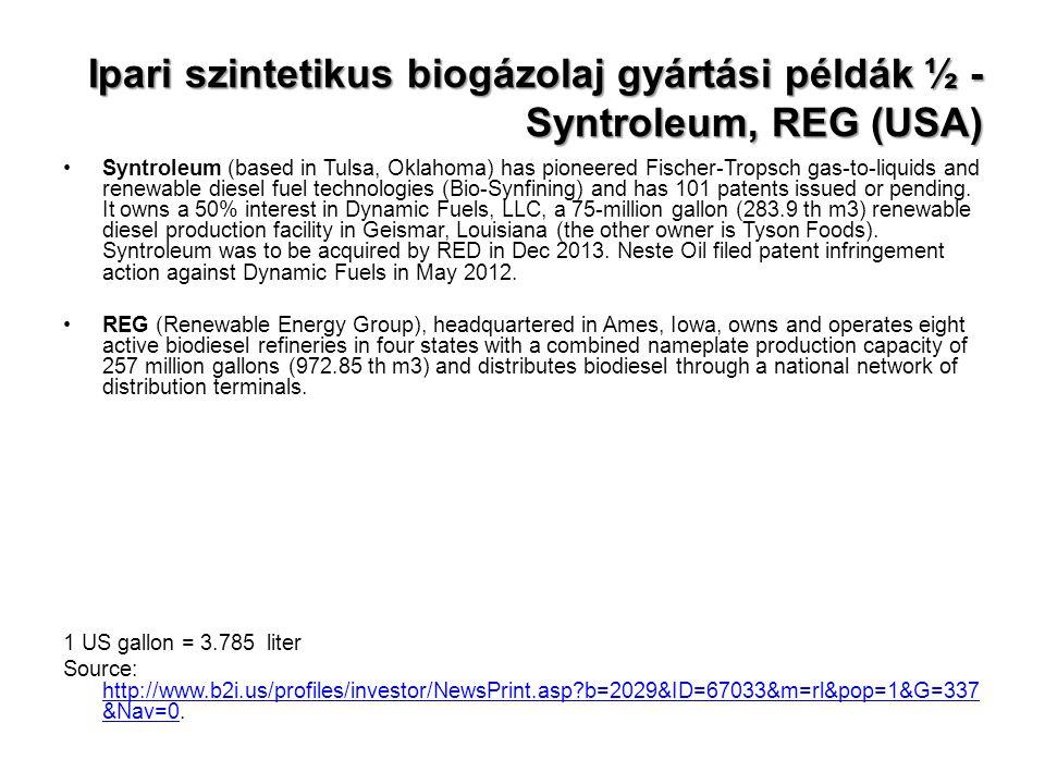 Ipari szintetikus biogázolaj gyártási példák ½ - Syntroleum, REG (USA)