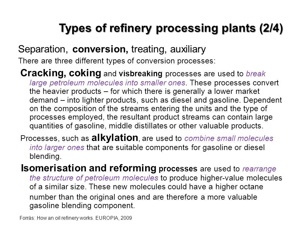 Types of refinery processing plants (2/4)