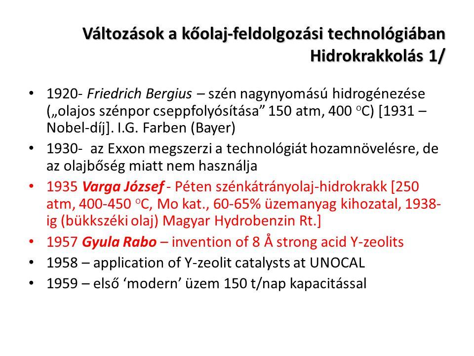 Változások a kőolaj-feldolgozási technológiában Hidrokrakkolás 1/